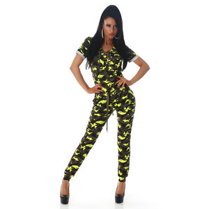 Sexy Camouflage Overall in Geel