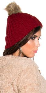 Trendy Knitted Muts met Fake Fur Pom Pon in Bordeaux