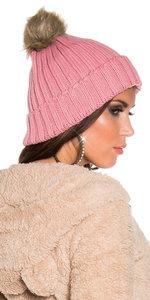 Trendy Knitted Muts met Fake Fur Pom Pon in Zalm