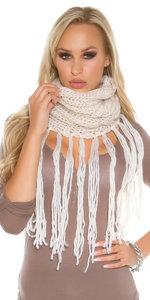 Trendy Loop Sjaal met fringes & Gliiters in Wit