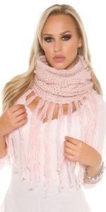 Trendy Loop Sjaal met fringes & Gliiters in Zalm