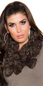 Trendy Fluffy Sjaal met Sequins in Bruin
