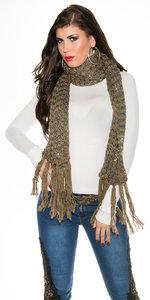 Trendy Sjaal met Glitter & Frills in Cappuccino