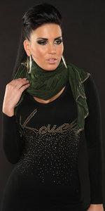 Sexy Fine Knit Sjaal met Ketting in Groen