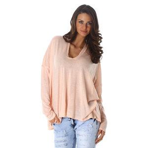 Sexy Pullover met V hals in Roze