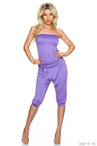 Sexy strapless jumpsuit in paars