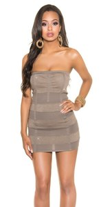 Sexy Bandeau Knitted Minidress met Lurex in Cappuccino