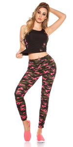 Trendy Workout Outfit Tanktop & Leggings in Fuschia