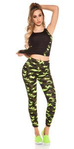 Trendy Workout Outfit Tanktop & Leggings in Geel
