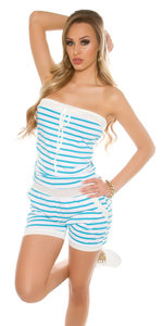 Sexy Bandeau Jumpsuit Gestreept in Turquoise