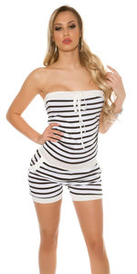 Sexy Bandeau Jumpsuit Gestreept in Wit
