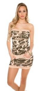 Sexy KouCla Mini Jurk in Army Look in Apricot