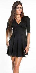 Sexy Koucla Flared Skirt Mini Jurk in Zwart