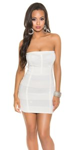 Sexy Bandeau Knitted Minidress met Lurex in Wit