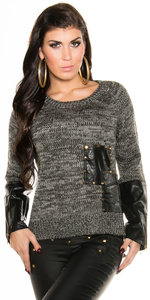 Sexy Knit Sweater met Leather Look Applications in Grijs
