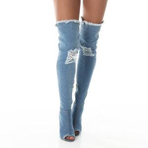 Sexy Overknee Laars Stretch Jeans M6202