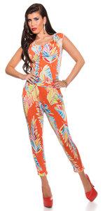 Trendy Jumpsuit met Veren Print & Heupketting in Oranje