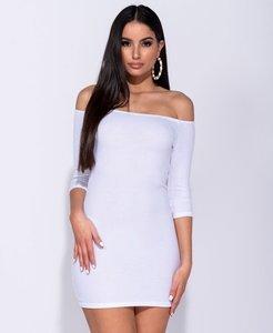 Bardot Rib Knit Bodycon Mini Dress in Wit