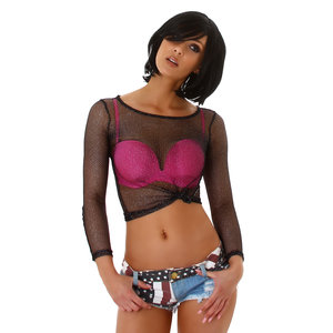 Sexy Jela London Net Top JW672 in Zwart